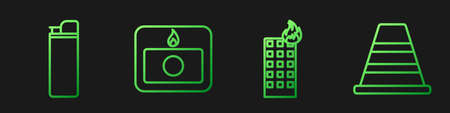 Set line Fire in burning building, Lighter, Fire alarm system and Traffic cone. Gradient color icons. Vector