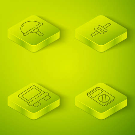 Set Isometric Electric circuit scheme, Fuse, Multimeter and Light emitting diode icon. Vector