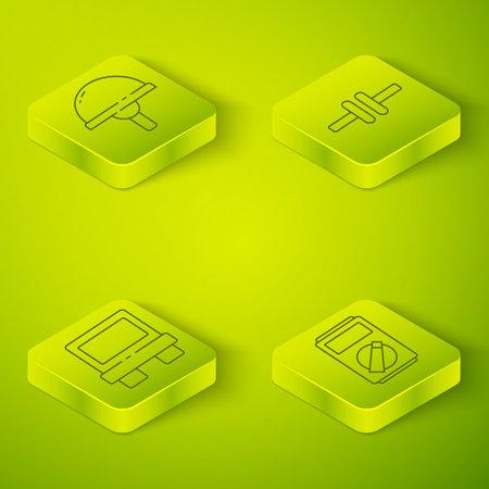 Set Isometric Electric circuit scheme, Fuse, Multimeter and Light emitting diode icon. Vector Vektoros illusztráció