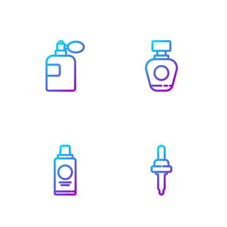 Set line Pipette, Bottle of shampoo, Perfume and . Gradient color icons. Vector
