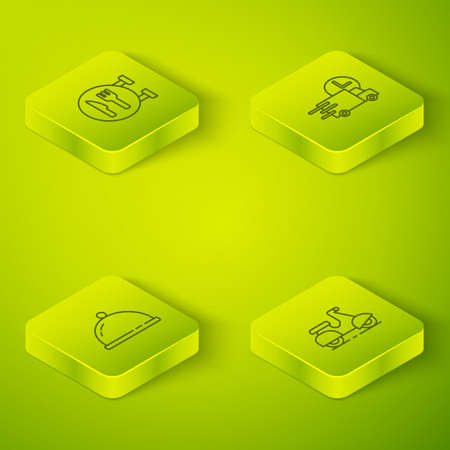 Set Isometric Fast delivery by car, Covered with tray of food, Scooter and Cafe and restaurant location icon. Vector
