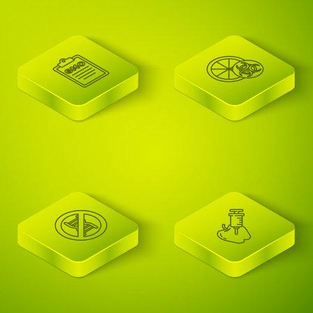 Set Isometric line Genetically modified orange, Stop GMO, apple and icon. Vector