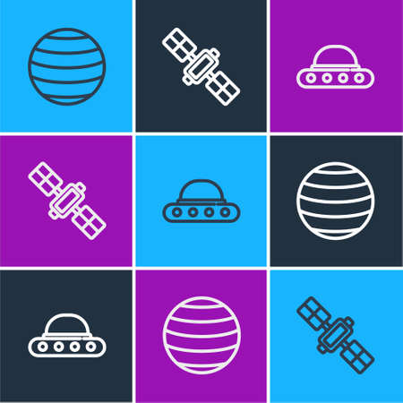 Set line Planet Venus, UFO flying spaceship and Satellite icon. Vector