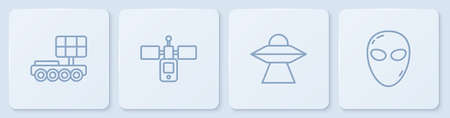 Set line Mars  , UFO flying spaceship, Satellite and Alien. White square button. Vector