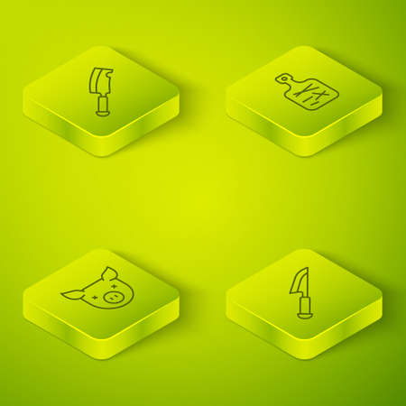 Set Isometric line Cutting board, Pig, Knife and Meat chopper icon. Vector Stock Illustratie