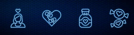 Set line Chocolate candy, Couple in love, Healed broken heart and Candy. Glowing neon icon on brick wall. Vector Ilustração