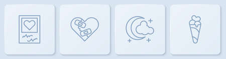 Set line Photo frames and hearts, Moon stars, Healed broken and Ice cream in waffle cone. White square button. Vector Ilustração