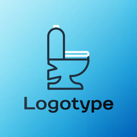 Line Toilet bowl icon isolated on blue background. Colorful outline concept. Vector Illustration