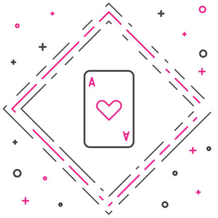 Line Playing card with heart symbol icon isolated on white background. Casino gambling. Colorful outline concept. Vector Illustration  イラスト・ベクター素材