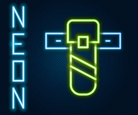 Glowing neon line Knife holster icon isolated on black background. Colorful outline concept. Vector