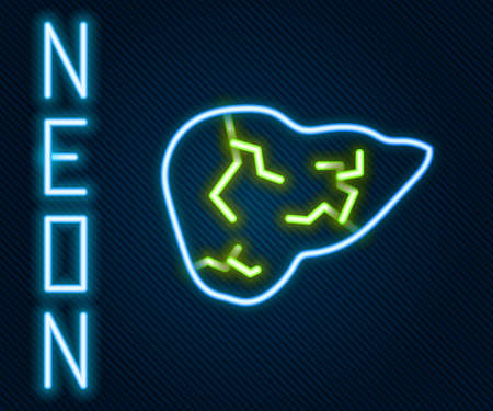 Glowing neon line Hepatitis virus on the human liver icon isolated on black background. World Hepatitis Day. Colorful outline concept. Vector