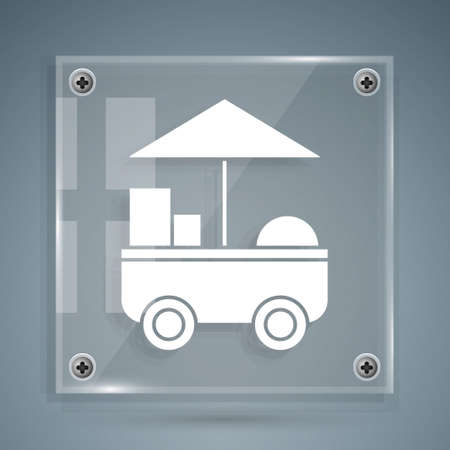 White Fast street food cart icon isolated on grey background. Urban kiosk. Square glass panels. Vector Illustration