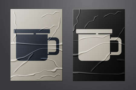White Camping metal mug icon isolated on crumpled paper background. Paper art style. Vector