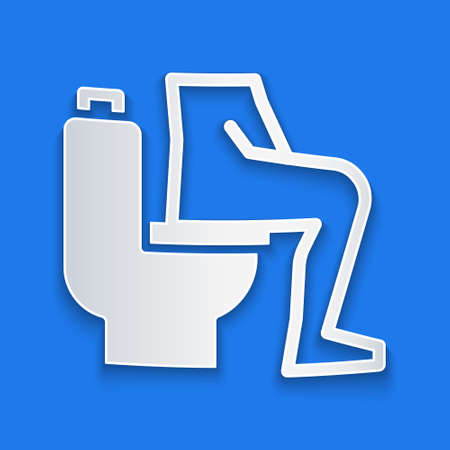 Paper cut Men sitting on the toilet and Constipation are experiencing severe abdominal pain icon isolated on blue background. Paper art style. Vector Stock Illustratie