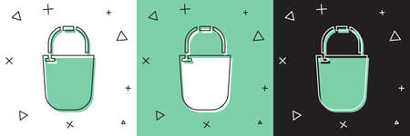 Set Bucket icon isolated on white and green, black background. Vector