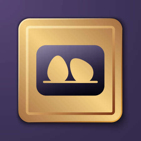 Purple Chicken egg icon isolated on purple background. Gold square button. Vector