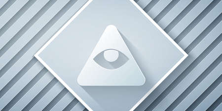 Paper cut Masons symbol All-seeing eye of God icon isolated on grey background. The eye of Providence in the triangle. Paper art style. Vector Illusztráció