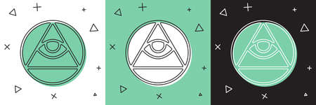 Set Masons symbol All-seeing eye of God icon isolated on white and green, black background. The eye of Providence in the triangle. Vector Illusztráció