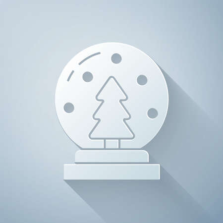 Paper cut Christmas snow globe with fallen snow and christmas tree icon isolated on grey background. Merry Christmas and Happy New Year. Paper art style. Vector