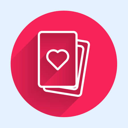 White line Deck of playing cards icon isolated with long shadow. Casino gambling. Red circle button. Vector