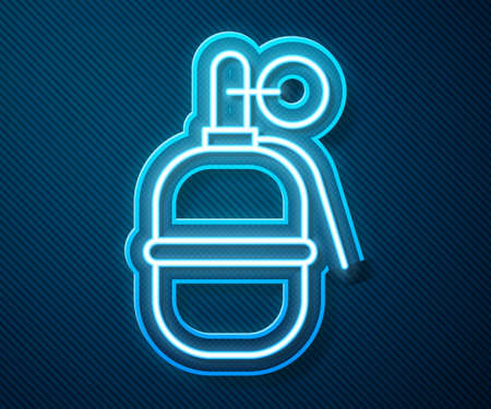 Glowing neon line Hand grenade icon isolated on blue background. Bomb explosion. Vector