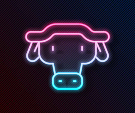 Glowing neon line African buffalo head icon isolated on black background. Mascot, african savanna animal. Wild ox, carabao or bison bull with fused horns. Vector Ilustração