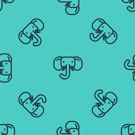 Black line Elephant icon isolated seamless pattern on green background. Vector