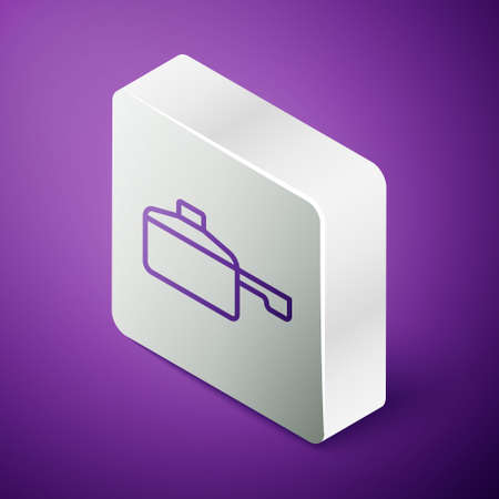Isometric line Frying pan icon isolated on purple background. Fry or roast food symbol. Silver square button. Vector
