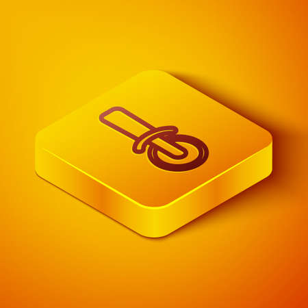 Isometric line Pizza knife icon isolated on orange background. Pizza cutter sign. Steel kitchenware equipment. Yellow square button. Vector  イラスト・ベクター素材