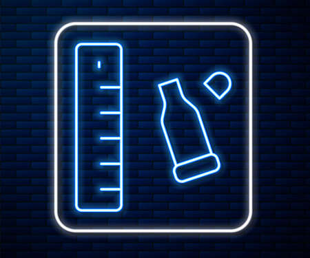 Glowing neon line Bullet casing as a piece of evidence placed with forensic ruler for documentation icon isolated on brick wall background. Concept of crime scene. Vector