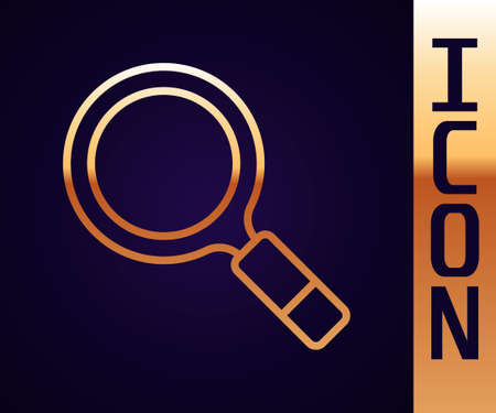 Gold line Magnifying glass with search icon isolated on black background. Detective is investigating. Vector