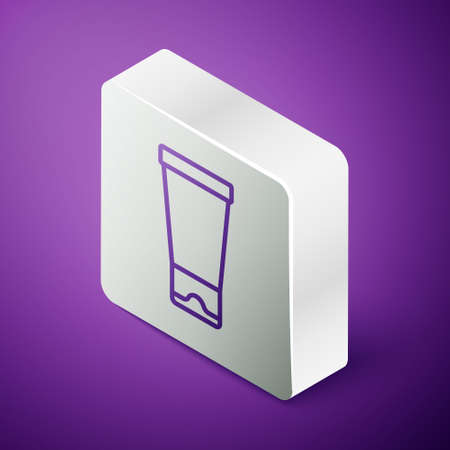 Isometric line Cream or lotion cosmetic tube icon isolated on purple background. Body care products for woman. Silver square button. Vector