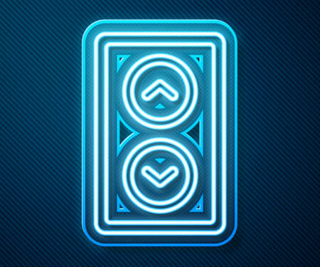 Glowing neon line Lift icon isolated on blue background. Elevator symbol. Vector