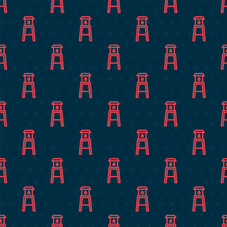 Red line Water tower icon isolated seamless pattern on black background. Vector