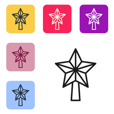 Black line Christmas star icon isolated on white background. Merry Christmas and Happy New Year. Set icons in color square buttons. Vector