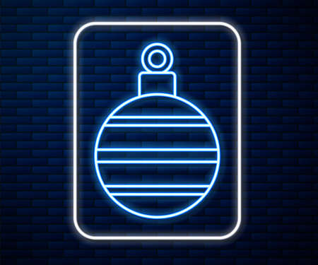 Glowing neon line Christmas ball icon isolated on brick wall background. Merry Christmas and Happy New Year. Vector