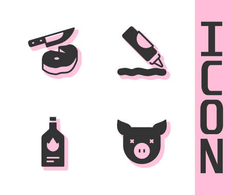 Set Pig, Steak meat and knife, Tabasco sauce and Ketchup bottle icon. Vector
