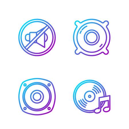 Set line Vinyl disk, Stereo speaker, Speaker mute and Stereo speaker. Gradient color icons. Vector