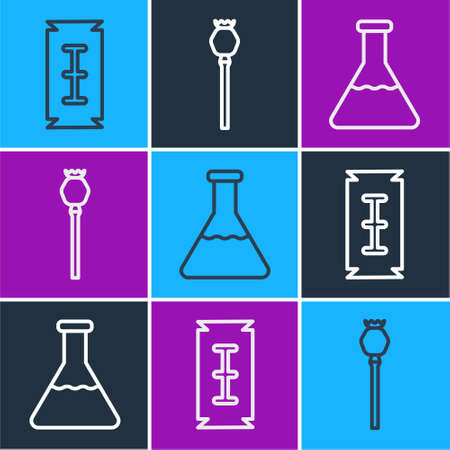 Set line Blade razor, Test tube and flask and Opium poppy icon. Vector  イラスト・ベクター素材