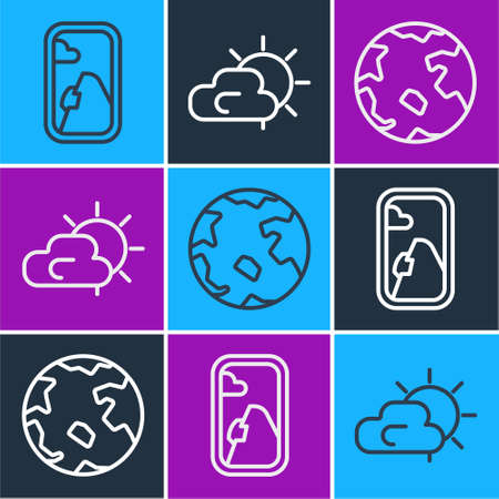 Set line Airplane window, Worldwide and Sun and cloud weather icon. Vector