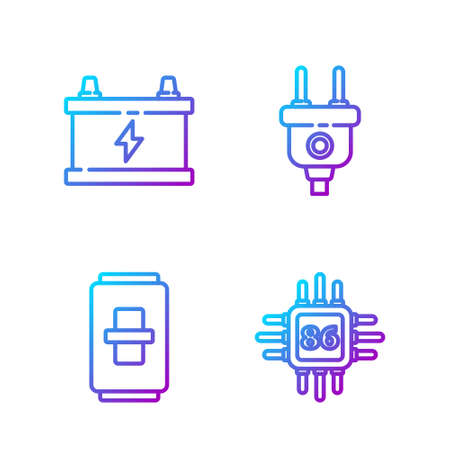 Set line Processor with microcircuits CPU, Electric light switch, Car battery and Electric plug. Gradient color icons. Vector