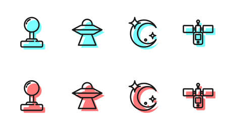 Set line Moon and stars, Joystick, UFO flying spaceship and Satellite icon. Vector