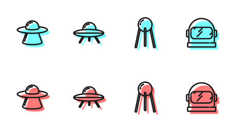 Set line Satellite, UFO flying spaceship, and Astronaut helmet icon. Vector