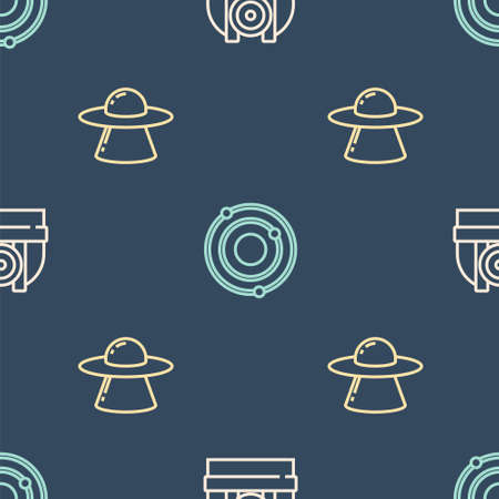 Set line Astronomical observatory, UFO flying spaceship and Solar system on seamless pattern. Vector