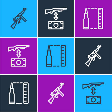 Set line Tommy gun, Bullet and Buying assault rifle icon. Vector