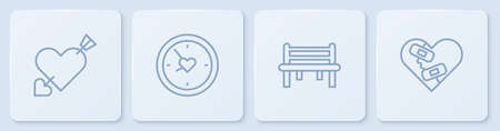 Set line Amour with heart and arrow, Romantic bench, Clock and Healed broken. White square button. Vector