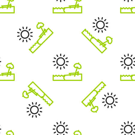 Line Beach with umbrella and chair icon isolated seamless pattern on white background. Tropical beach landscape. Good sunny day. Vector Illustration