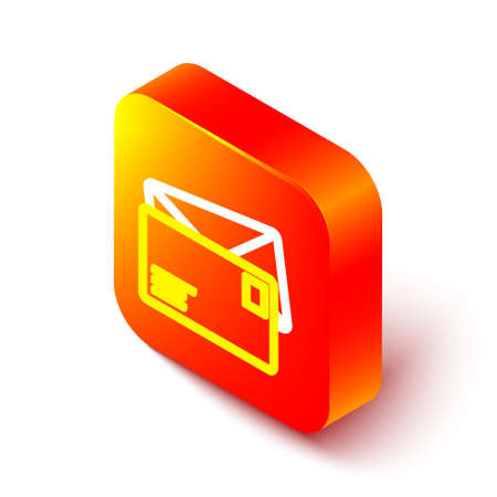 Isometric line Envelope icon isolated on white background. Email message letter symbol. Orange square button. Vector Illustration
