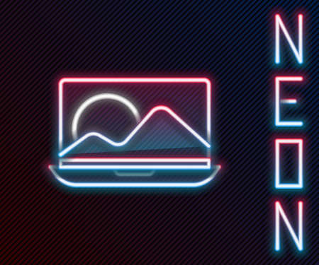 Glowing neon line Laptop icon isolated on black background. Computer notebook with empty screen sign. Colorful outline concept. Vector Illustration