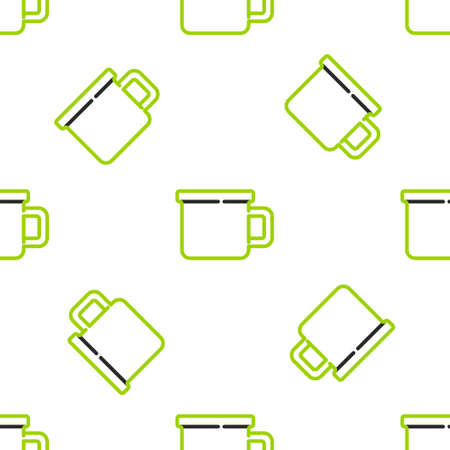 Line Camping metal mug icon isolated seamless pattern on white background. Vector
